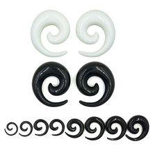Pair Hot sale Acrylic Black White Ear Spiral Taper Plug Gauges Earring Swirl Ear Stretcher Expander Piercing Jewelry 1.2-24mm(China)