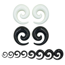 Pair Hot sale Acrylic Black White Ear Spiral Taper Plug Gauges Earring Swirl Ear Stretcher Expander Piercing Jewelry 1.2-24mm