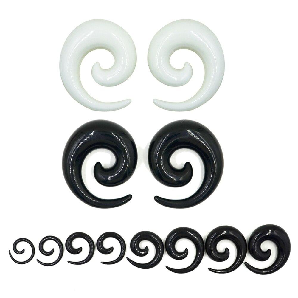 Par de brincos de acrílico espiral, preto e branco, plugue giratório, brinco expansor, jóias de piercing 1.2-24mm