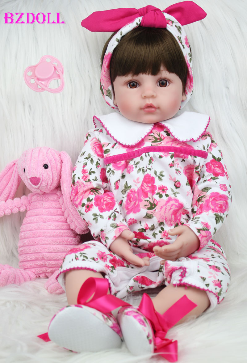 60cm Silicone Reborn Princess Baby Doll Toys Like Real 24inch Vinyl Toddler Girls Babies Dolls Kids