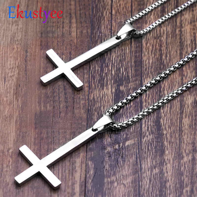 316L Stainless Steel Upside Down Cross Inverted Cross of St Peter Necklace Pendant for Men Religious Male Jewelry