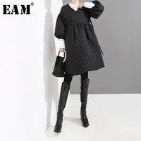 [EAM] 2019 New Spring Winter V collar Long Lantern Sleeve Black Bandage Cotton padded Coat Women Parkas Fashion Tide JL103