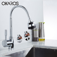 OKAROS Deck Mounted Kitchen Swivel Sink Faucet High Quality Brass Chrome Finished Water Mixer Tap Bathroom