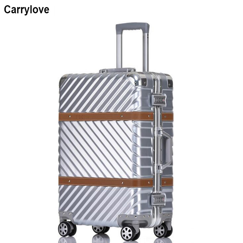 """Carrylove 20 """"24"""" 26 """"29"""" الألومنيوم الإطار المتداول الأمتعة السفر حقيبة hardside سفر حقيبة على عجلات-في حقائب سفر بعجلات من حقائب وأمتعة على  مجموعة 1"""