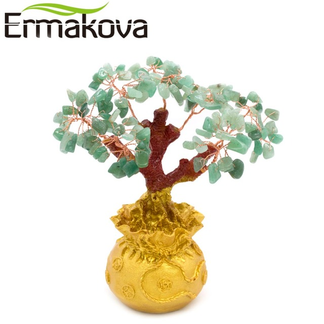 ERMAKOVA 6.7 Inch Tall Mini Crystal Money Tree Bonsai Style Wealth Luck Feng Shui Bring Wealth Luck Home Decor Birthday Gift 5