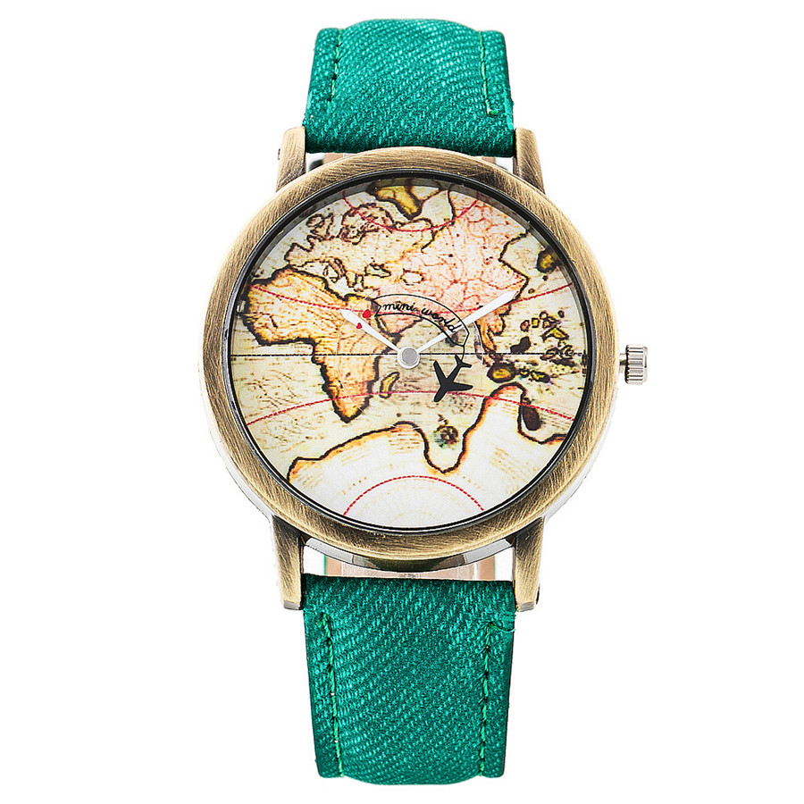 Fashion Global Plane World Map Denim Fabric Band Watch Casual Women Wristwatches Jeans Quartz Watch Relogio Feminino Gift 1968 2017 new fashion tai chi cat watch casual leather women wristwatches quartz watch relogio feminino gift drop shipping