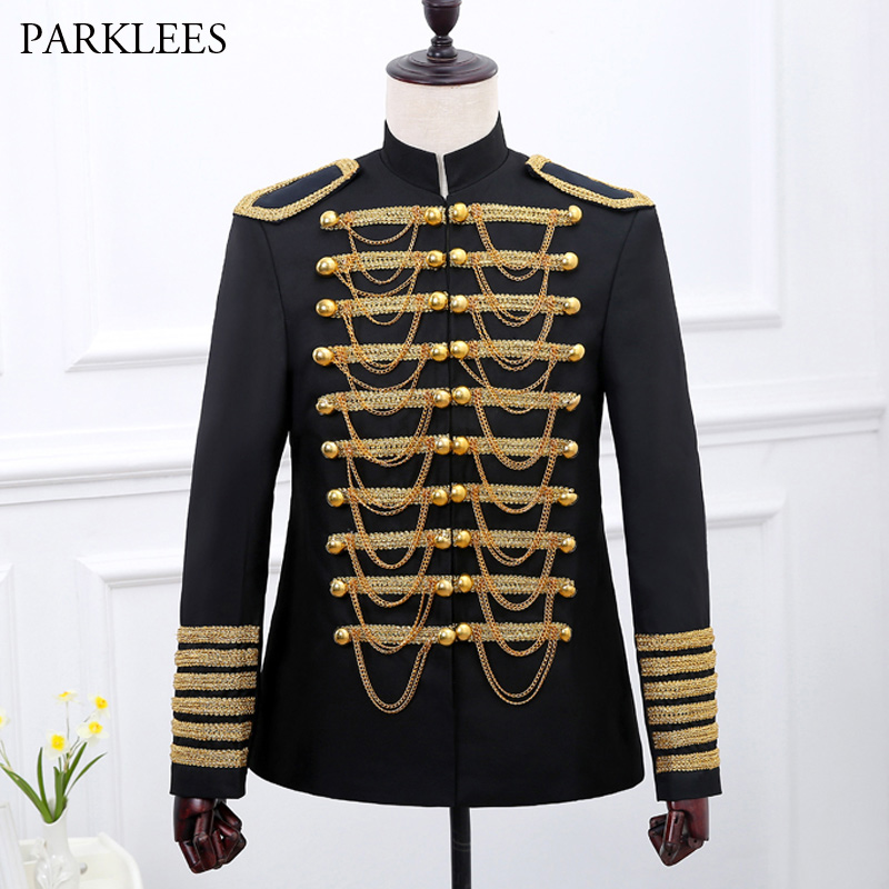 Classic Military Blazer Jacket Men Double Breasted Embroidery Mens Black Red Suits Prom Wedding Singer Costumes Stage Wear Homme