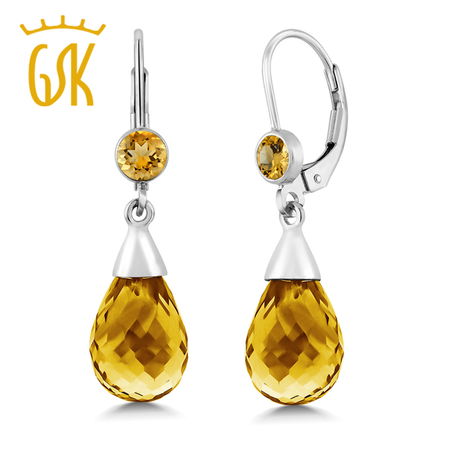 GemStoneKing 10.00 Ctw Natural  Briolette Citrine Drop Earrings For Women 925 Sterling Silver Fine Jewelry