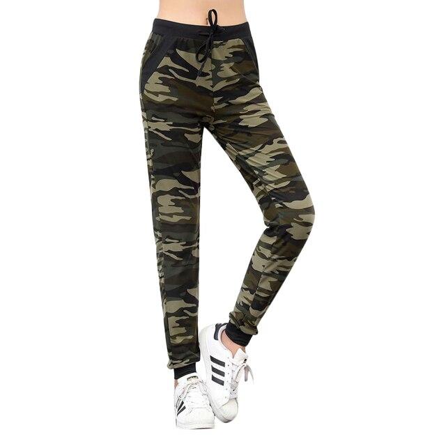 2018 Women Camouflage Pants Sweatpant Casual Drawstring Pocket Slim Trousers Joggers Ladies Camo Harem Pants Pantalon Mujer