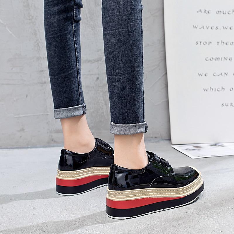 Cm Plateforme En De Lacets Chaussures Sling Nouvelle Creeper Épaisses 5 Semelles Tendance Cuir Femmes Verni À Hauteur Black xYx0vUzqw