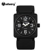 INFANTRY Men S Fashion Military Sports Analog Quartz Wrist Watch Trendy Black Style Rubber Band NEW