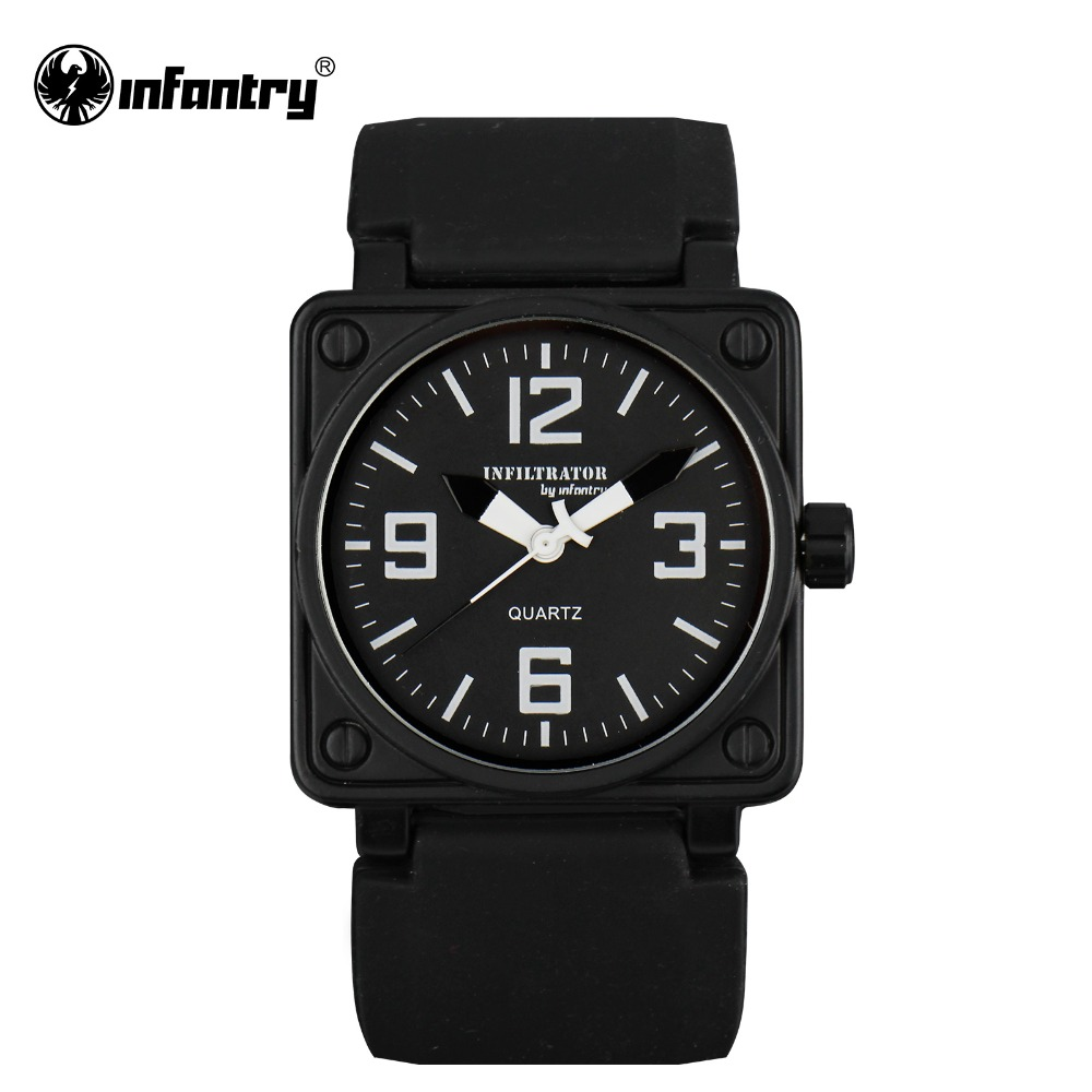 INFILTRATOR Men Quartz Watch Square Face Black Rubber Brand Watch Fashion Casual Watch Navy Cycling Style Relogio Masculino edwin watch navy
