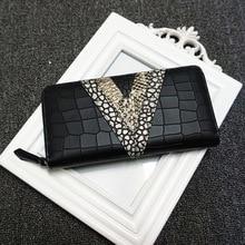Ms. long section of high-grade leather purse wallet head layer cowhide female crocodile mosaic V hand bag zipper handbag FREE SH