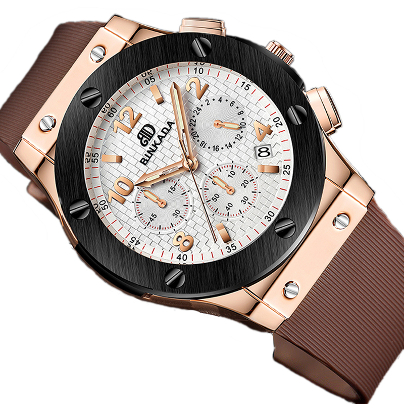 Men's large dial silicone leisure waterproof men's watch calendar - Men's Watches