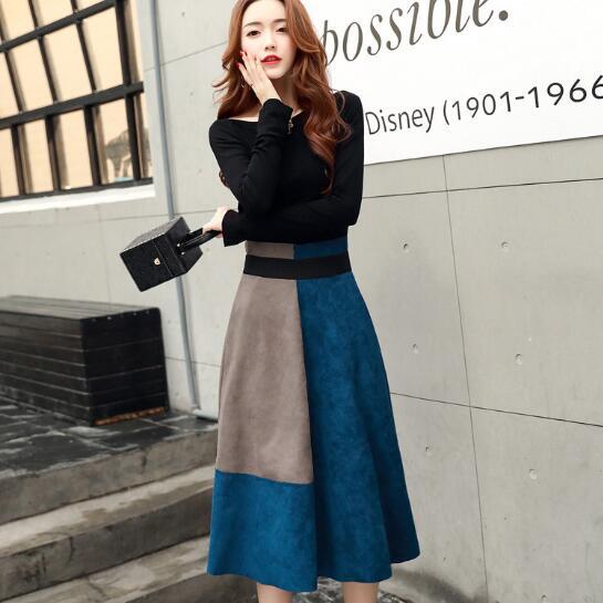 Clobee 2018 Winter Two Piece Women Dress Patchwork Ferrule Slim Elegant Mid-calf Ladies A Line Dresses Work Femme Vestidos JC157