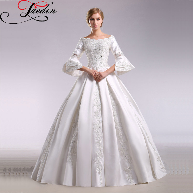 JAEDEN Vintage Satin Appliques Wedding Dresses Three