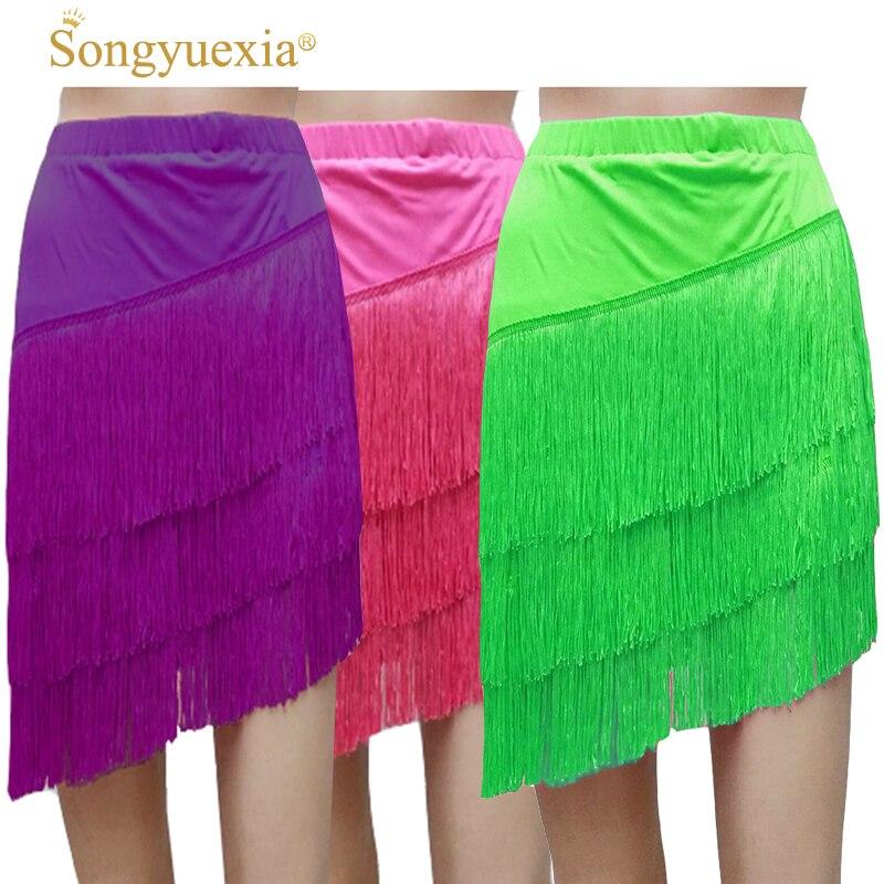 SONGYUEXIA Women dance dress tango Woman Tassels Half-body Short Skirt Latin dance skirt Woman costume girl latin dance