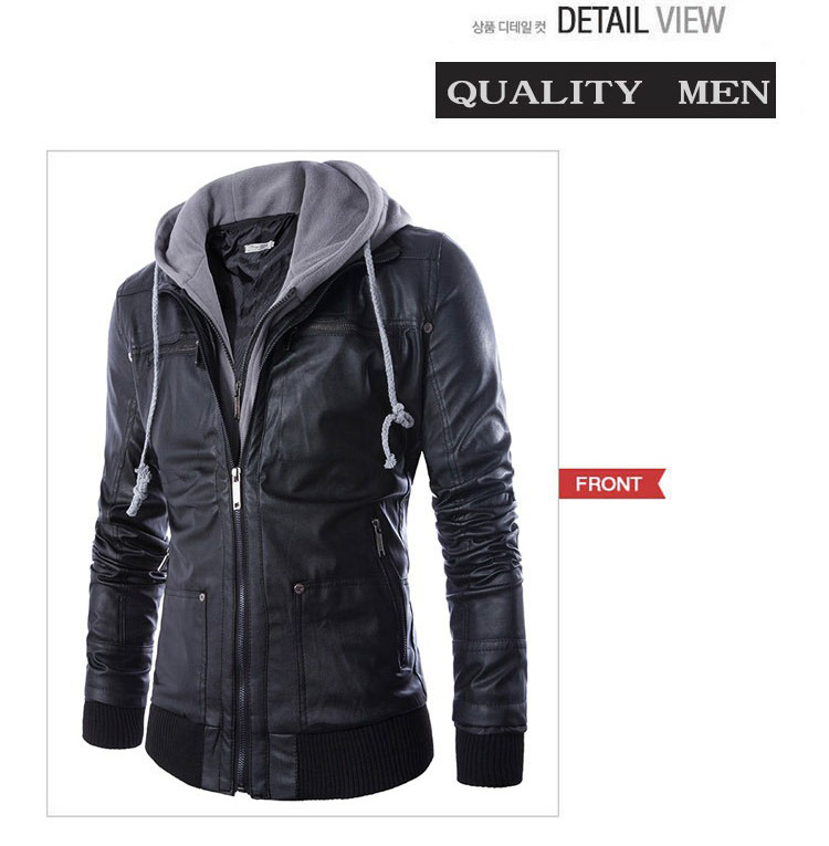 5a677597acc New Men Leather Jackets Hoodie PU Motorcycle Jaqueta Fashion Mens Coat  False two leather jacket De Couro Masculina Slim Leather-in Jackets from  Men s ...