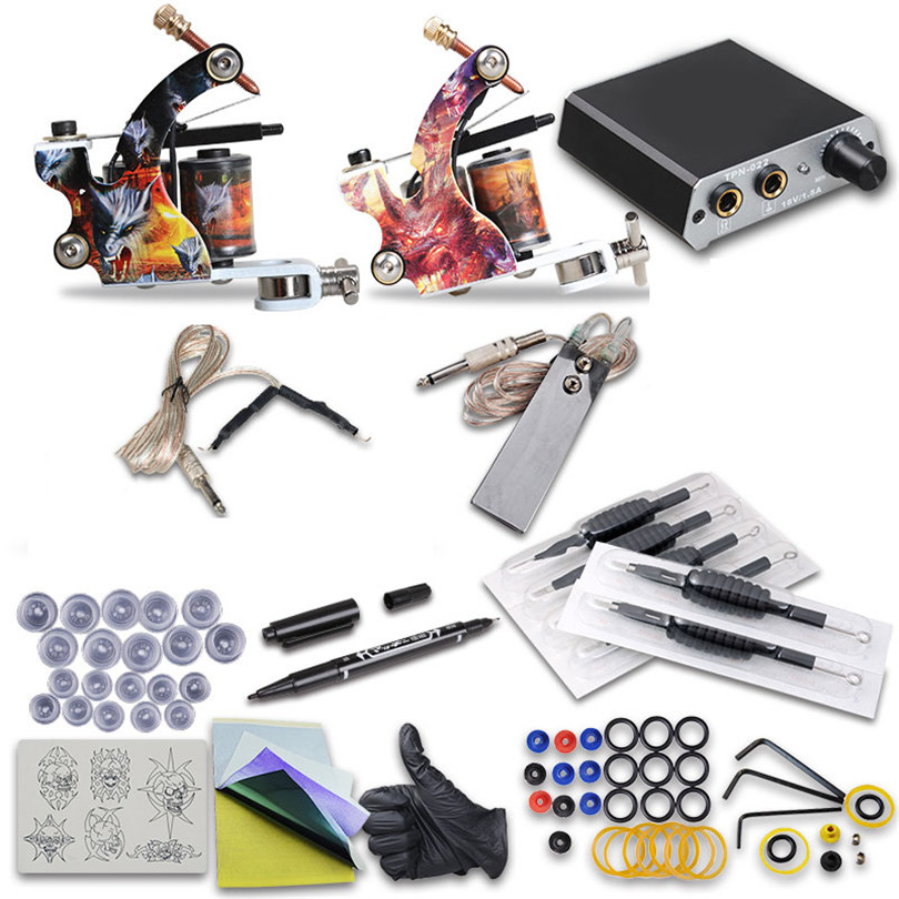 Tattoo Complete Beginner Tattoo Kit Professional  Set 2Pcs Coil Tattoo Machine Guns Power Supply Needle Grips Tips Beauty Tools 100pcs box zhongyan taihe acupuncture needle disposable needle beauty massage needle with tube