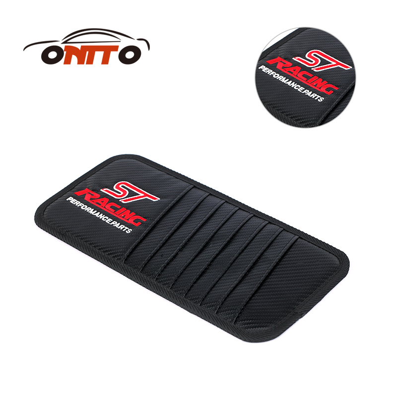 TOP 1pcs carbon fiber Leather Car CD Clip car styling for ST RED logo auto DVD clips Car Sun Shading Board storge bags