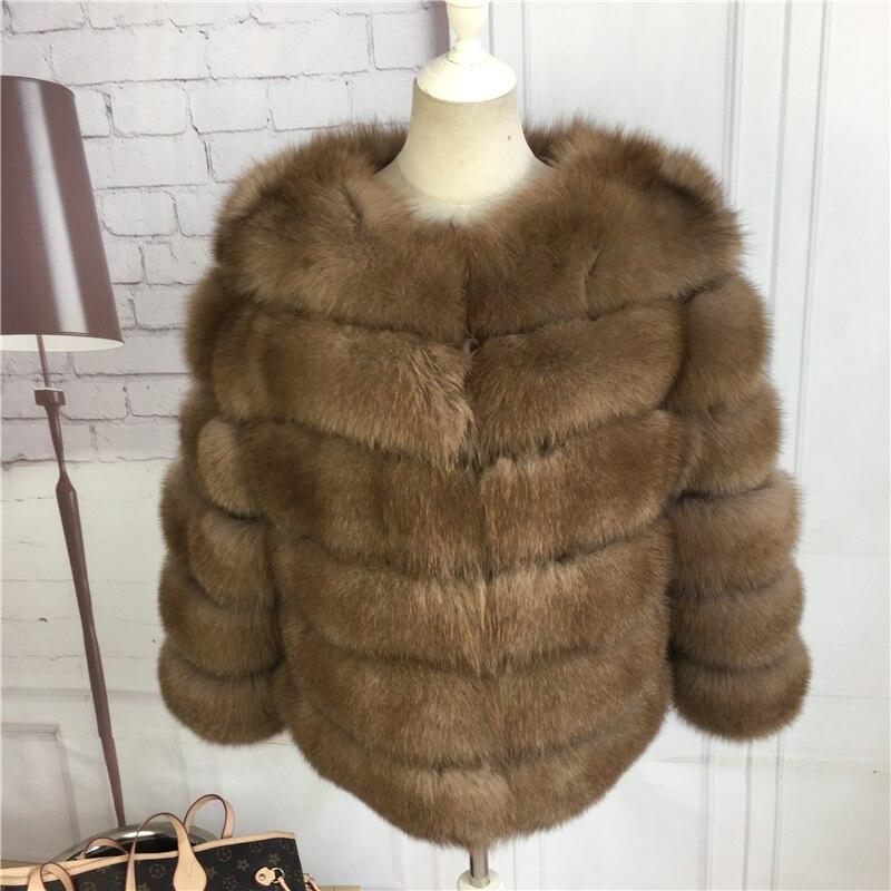 CNEGOVIK Court manteau de fourrure de renard bleu fourrure de renard Imitation martre fourrure véritable veste 50 cm longueur