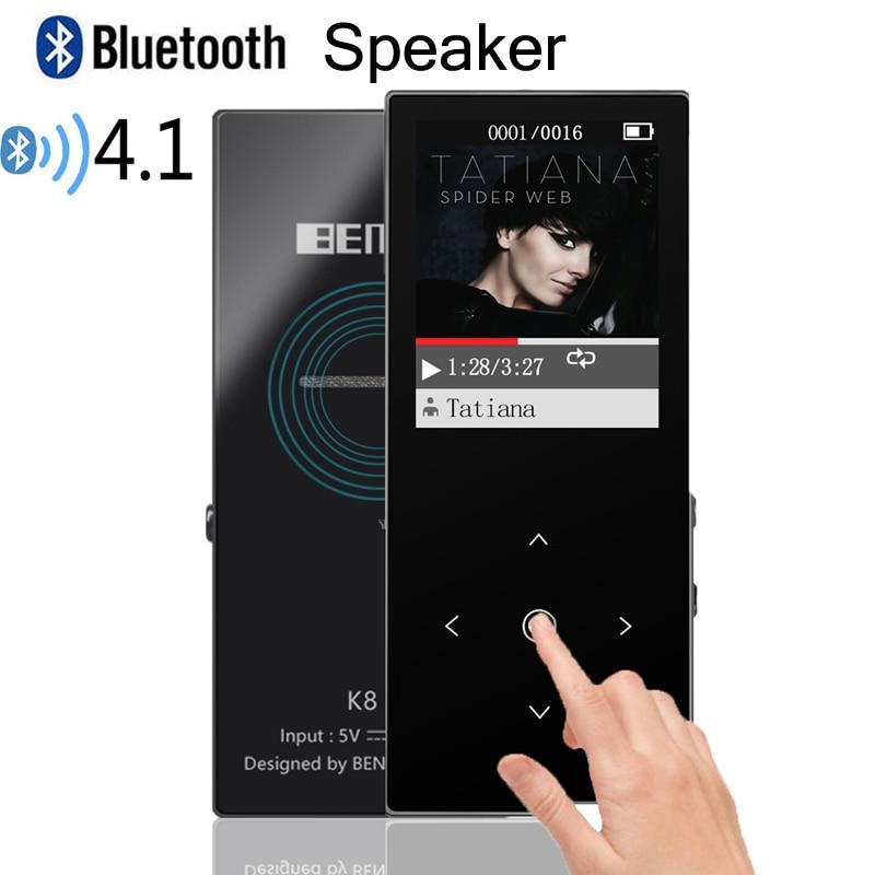 BENJIE Bluetooth MP4 Lecteur Haut-Parleur 8 GB Haute Qualité Sans Perte Lecteur de Musique avec 1.8 pouce Écran Soutien Haut-Parleur, FM, Carte SD, USB