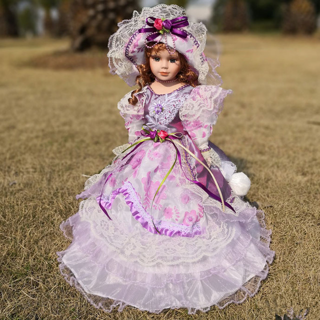 Free ship Hot Sell 41CM European Style Victoria Style Russia Ceramic Classical Doll Noble Porcelain Dolls Toy Gift For Girl