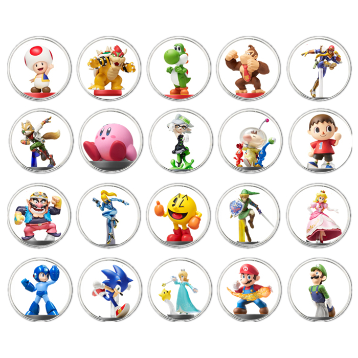 Fast Shipping Full 20Pcs Mario Kart 8 NFC Game Card Coin Of Amiibo Collection Ntag215 NFC Tag Printed Stickered NS Switch WiiU