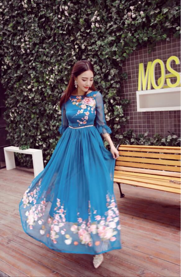 New High Quality Explosions Leisure embroidery Party Dresses Women Spring summer Casual Shirt Dress