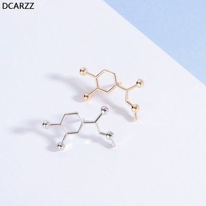 Металлическая забавная брошка в стиле стимпанк, в виде молекулы адреналина