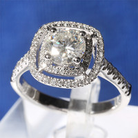 1 Carat Ct F Color Engagement Wedding Lab Grown Moissanite Ring With Real Dia Mond Accents