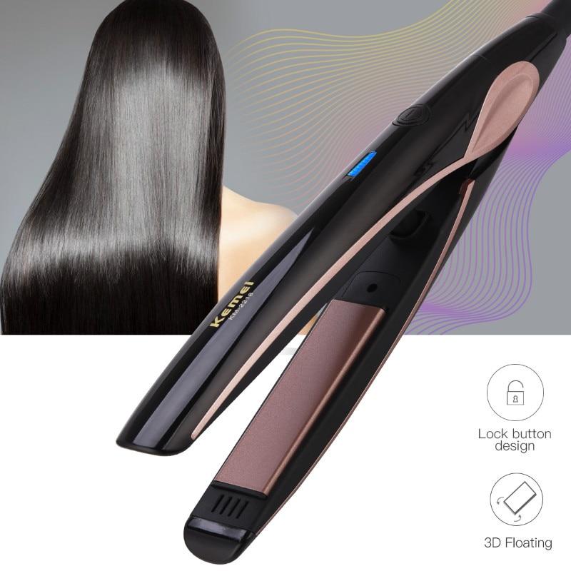 Kemei Hair iron Ceramic Hair Straightener iron Curler Constant Temperature Flat Iron Corrugated Hair Crimper Waver Curling iron цена