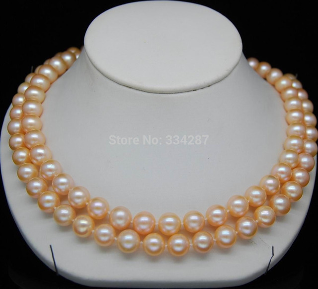 "100% Selling full Natural 8-9mm AAA pink pearl necklaces 35""Long With Selling"