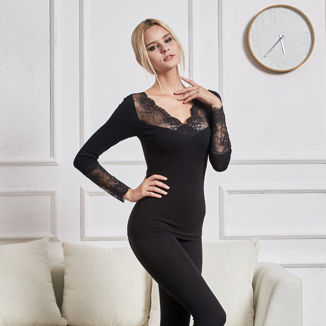 2018 Winter V-Neck Sex Lace Thermal Underwear Women Elastic Breathable Female Casual Autumn Female Warm Long Black Johns Sets