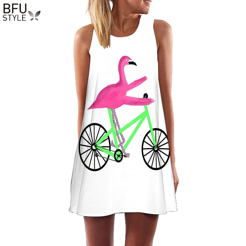 Plus Größe S-3XL Sleeveless Strand Boho Kleid Flamingo Floral Print Kleidung Frauen 2018 Sommer Short Shift Kleider Casual Vestido