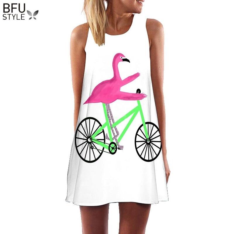 Plus Size S-3XL Mangas Praia Boho Vestido Flamingo Impressão Roupas Florais 2018 Mulheres Vestidos Casuais Vestido de Verão Curto Turno