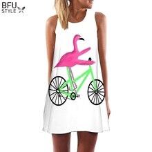 Плюс размеры S-3XL без рукавов Пляж Boho платье Фламинго цветочный принт одежда для женщин Лето 2018 г. короткие Цельнокройное платья для