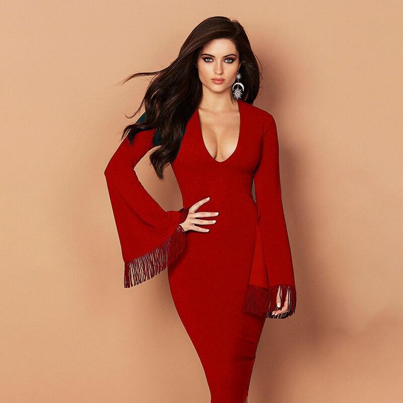 Schwarz 2018 Abendkleider Langarm Rot ausschnitt Winter Quaste Neue Ankunft Verbandkleid V Elegante Celebrity Knielangen v8mNn0Ow