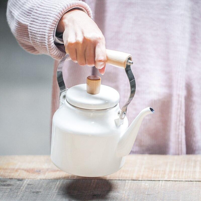 Haute qualité émail bouilloire cuisinière applicable cuisinière à gaz application théière belle apparence style japonais pot émail bouilloire