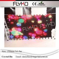 P50mm 3x1.5m professional lighting equipment led stage curtain flashlight led video curtain