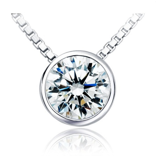1 carat excellent round cut synthetic diamonds pendant necklace 1 carat excellent round cut synthetic diamonds pendant necklace perfect design simple beautiful women jewelry accessories aloadofball Gallery