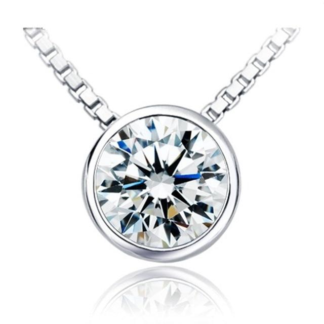 Aliexpress buy 1 carat excellent round cut synthetic diamonds 1 carat excellent round cut synthetic diamonds pendant necklace perfect design simple beautiful women jewelry accessories aloadofball Images