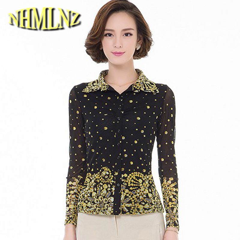 2020 Latest Fashion Spring Summer Chiffon Women Blouses Middle-aged Casual Long-sleeved  Printing Large Size Tops G2469