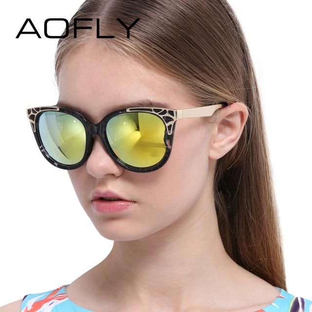 AOFLY Sunglasses Fashion Cat Eye Glasses Oval Mirror Vintage Sun Glasses Brands Designer Female Fashion Sunglasses Oculos UV400