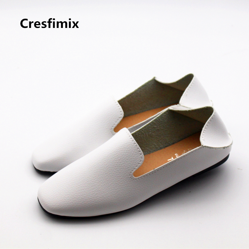 Cresfimix women cute soft pu leather loafers lady casual comfortable summer flat shoes female leisure white shoes cresfimix women casual pu leather slip on flat shoes lady casual white flats female soft and comfortable loafers zapatos