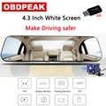 最新 4.3 インチ車 Dvr ダッシュカメラ安全白バックミラーフル Hd 1080P デュアルレンズとカメラ自動レコーダー
