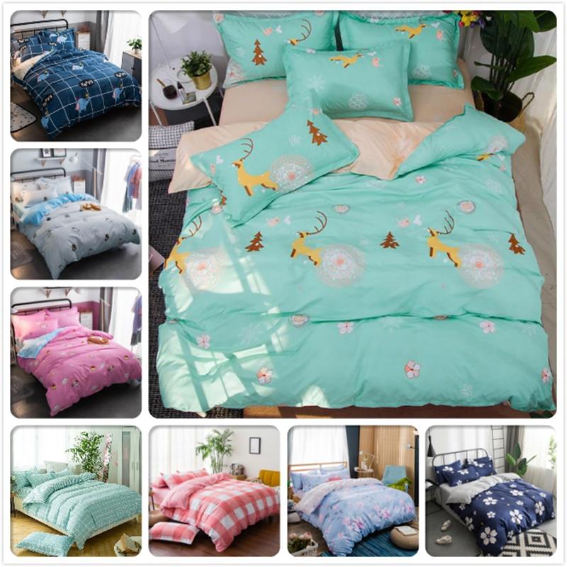 Cartoon Animal Pattern Duvet Cover 3/4 pcs Bedding Set Kids Boy Student Single Twin Queen King Full Size Bed Linen Cotton Sheets