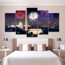 Canvas Painting HD Prints Wall Art 5 Set Fireworks Building City Night View Modular Pictures Fresh Poster Home Decor Living Room(China)