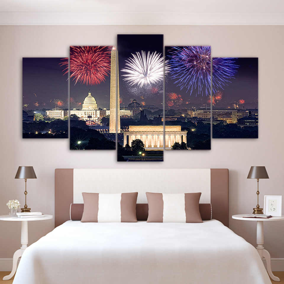 Canvas Painting HD Prints Wall Art 5 Set Fireworks Building City Night View Modular Pictures Fresh Poster Home Decor Living Room