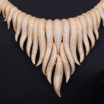 GODKI Super Luxury glacier Tassels 4PCS African Necklace Zircon Jewelry Sets For Women Wedding Indian Nigerian Party Jewelry Set 1